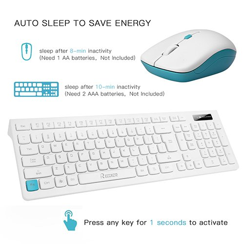 Wireless Keyboard and Mouse Combo, RECCAZR WC500 Office 2.4GHz Wireless USB Mouse Keyboard and Mouse Set for PC/Desktop/Laptop (White)