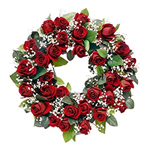 Wreaths For Door Red Rose Wreath with White Babys Breath Classic Timeless Artificial Spring Door Wreath for Winter Summer 19-20 Inch in Diameter 48