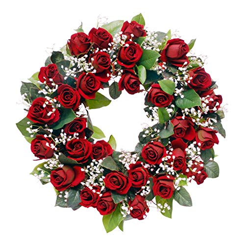 - Wreaths For Door Red Rose Wreath with White Babys Breath Classic Timeless Artificial Spring Door Wreath for Winter Summer 19-20 Inch in Diameter