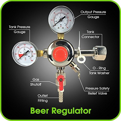 "Co2 Beer Regulator Dual Gauge Draft Beer Dispensing Kegerator Heavy Duty 0 to 60 PSI - 0 to 3000 Tank Pressure CGA-320 Inlet Connection with 3/8"" O.D. Outlet Barb Features Safety Pressure Relief Valve"