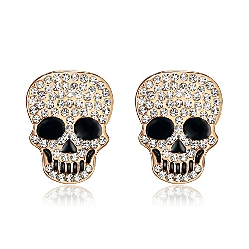 Lee Island Fashion 18K Gold Plated White Crystal Skull Stud Earrings For Women