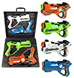 Multiplayer Extreme Infrared Laser Tag Indoor Outdoor Game Set - Toy Lazer Gun Blasters w/ Gift Carrying Case (Set of 4)
