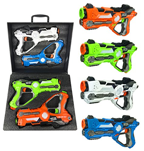 (Multiplayer Extreme Infrared Laser Tag Indoor Outdoor Game Set - Toy Lazer Gun Blasters w/ Gift Carrying Case (Set of 4))