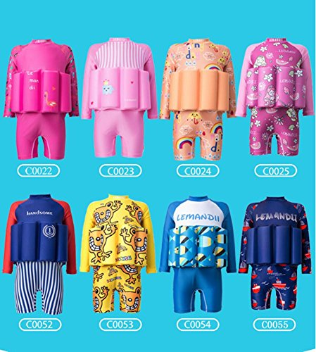 Baby L/s One Piece - Lemandii UPF 50+ Sun Protection L/S Floatation Swimsuits with Adjustable Buoyancy for 1-10 Years Baby Girls/Boys
