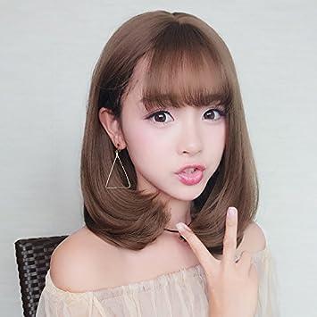 Amazon Com South Korean Women Girls Female Wig Bangs Short Curly