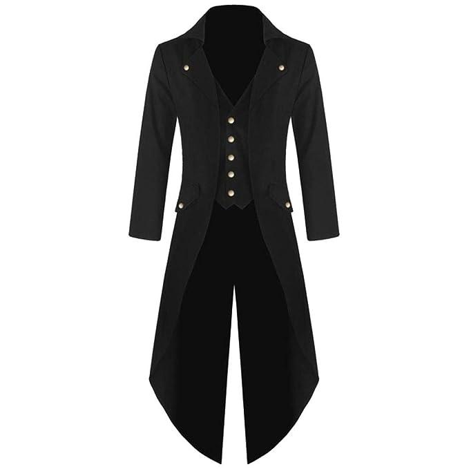 UOMOGO Giacca Uomo Lunga Nero Gotico Steampunk VTG Cappotto Lungo  Multi-Tasca Tailcoat Cappotto per Costume Vittoriano Halloween Costume   Amazon.it  ... 9b0ba186547