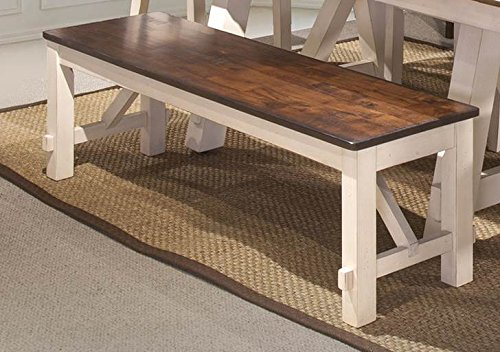 Bernards Furniture Cherry (Dining Bench in White and Rustic Cherry Finish)