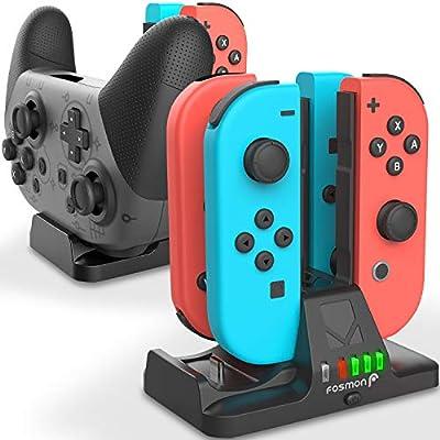 Fosmon 2-in-1 Estación de carga para Mandos Nintendo Switch Joy ...