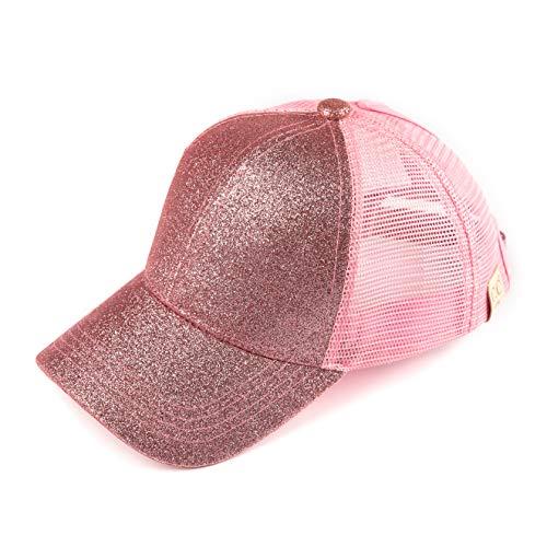 C.C Hatsandscarf Kids Ponytail caps Messy Buns Trucker Plain Baseball Cap (BT-6-KIDS) (Pink)