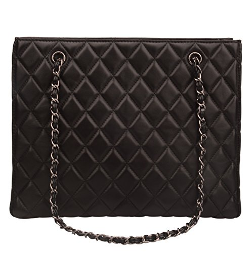 Ainifeel Women's Genuine Leather Quilted Top Handle Handbag Purse Tote (Black) -