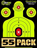 "airsoft bullets red - ""55-PACK"" SHOOTING TARGETS - High-Contrasting Green & Red Colors Make it Easy to See Your Shots Land - Heavy-Grade Silhouette Paper Sheets - 150 Free Repair Stickers & EBOOK - Best Value Gun Targets."