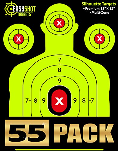 """55-PACK"" SHOOTING TARGETS - High-Contrasting Green & Red Colors Make it Easy to See Your Shots Land - Heavy-Grade Silhouette Paper Sheets - 150 Free Repair Stickers & EBOOK - Best Value Gun Targets."