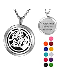 """VALYRIA Butterfly Angel Aromatherapy Essential Oil Diffuser Necklace,Stainless Steel Locket with """"A mother's heart is always with her children"""" Engraved"""