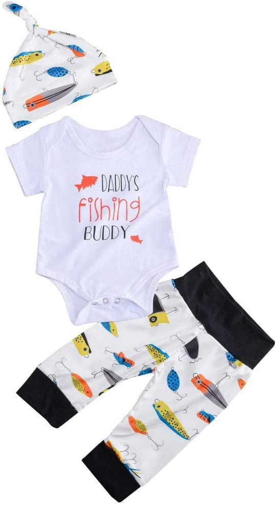 Newborn Baby Boy Daddy/'s New Fishing Buddy 3PC Outfit Romper Hat and Pants