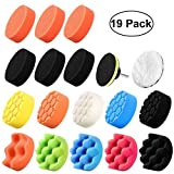 Umiwe 19Pcs Polishing Pads Sponge Buff Pads Set Kit,16 Pads+1 Drill Adapters+1 Suction Cups+1 Woolen Cushions for Car Sanding, Buffing, Polishing, Waxing, Sealing Glaze