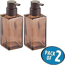 mDesign Foaming Soap Glass Dispenser Pump Bottle for Bathroom Vanities or Kitchen Sink, Countertops - Pack of 2, Square, Sand/Bronze