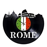 "Cheap Rome Italy Design Vinyl Record Wall Clock – Get unique living room, kitchen wall decor – Gift ideas for adults and youth ??"" Cities Skylines Unique Modern Art"