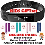 Kids Fitness Activity Tracker for Kids - Health Wristband for Women, Men Smart Activity Tracker 2 Wrist Bands for iOS iPhone Android Bluetooth Pedometer Step Counter Sleep Monitor Trackers +Chart+ Black +Extra Band (Deluxe Purple Gift Set)