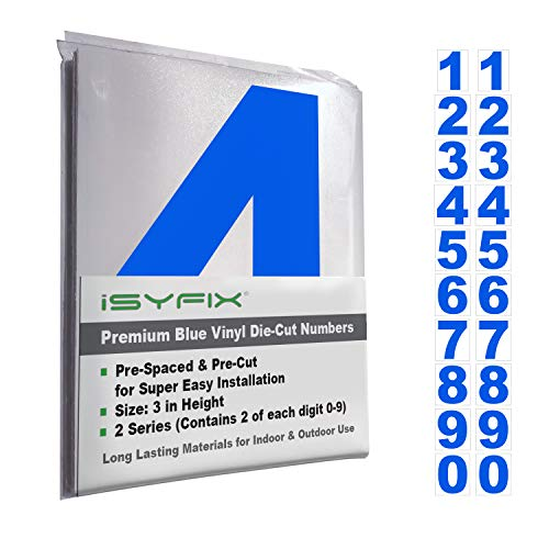 (Blue Vinyl Numbers Stickers - 3 Inch Self Adhesive - 2 Sets - Premium Decal Die Cut and Pre-Spaced for Mailbox, Signs, Window, Door, Cars, Trucks, Home, Business, Address Number, Indoor or Outdoor)