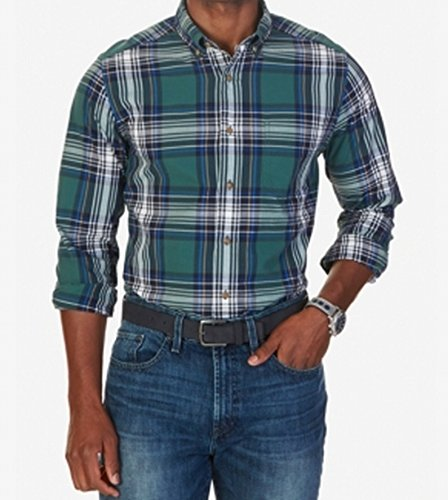 Nautica Men's Classic Fit Navy Plaid Shirt, Lakeside Green, - Free Lakeside Shipping