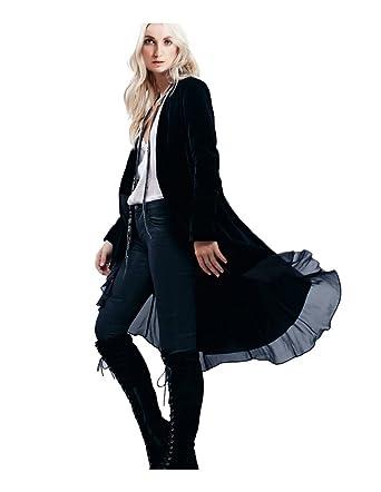 Amazon.com: CA Mode Women's Velvet Lace Hem Cardigan Jacket ...