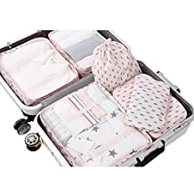 PROMUN Travel Packing Cubes, 6 Set Luggage Organizer with Laundry Bag, Luggage Compression Pouches, Waterproof and Rip Resistance (Pink)