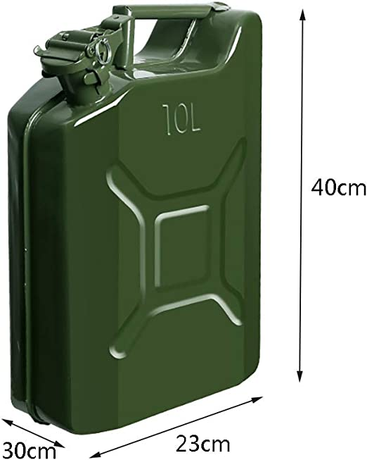 Portable Metal Jerry Can,Emergency Backup,with Oil Guide Pipe Gas Tank,Green NATO Style Army Gasoline Cans Size : 5L for Gasoline and Diesel