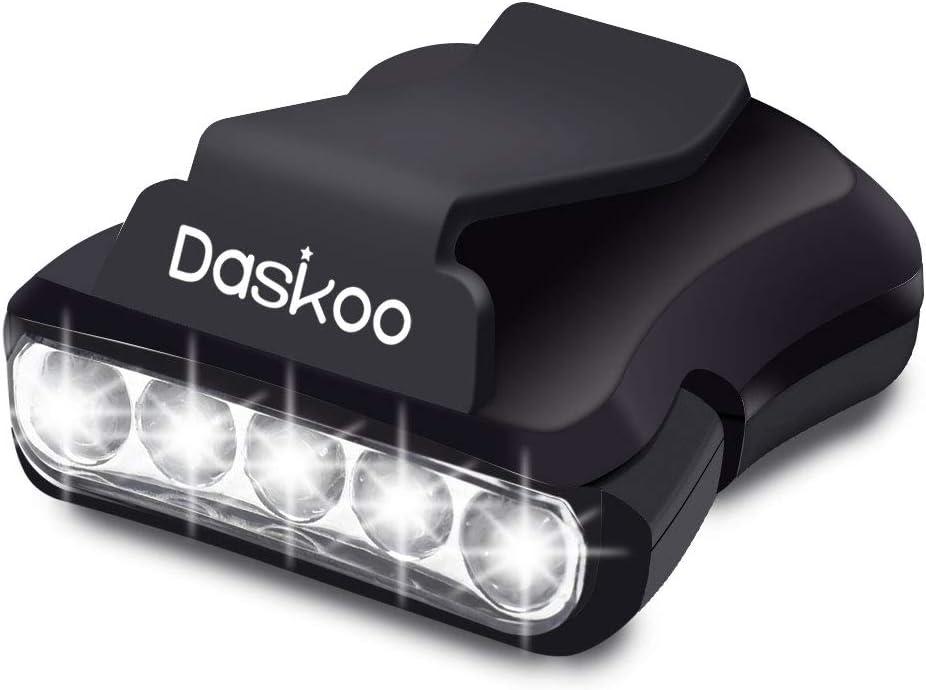 Sumbay Clip LED Lampe frontale rotatif Ball Cap Visor lumi/ère les mains libres pour la chasse Camping P/êche Noir