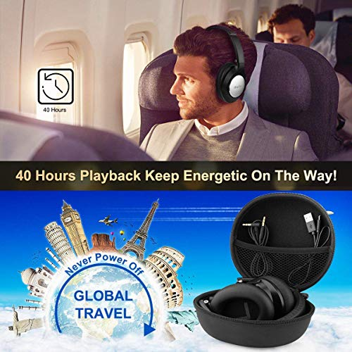 Bluetooth Headphones Over Ear, iFuntec Wired Wireless Headphones Premium Comfort Hi-Fi Stereo CSR Headphone Headset Lightweight for Travel Work Computer Cellphone with Carrying Bag 40 Hrs Playtime