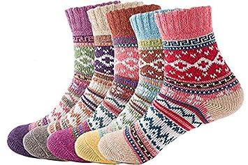 YIQI Calcetines de Invierno de Las Mujeres, Calcetines de Lana Gruesa Calcetines de Colores Respirable Cálido Suave Un tamaño Vintage patrón 5 Pares: ...
