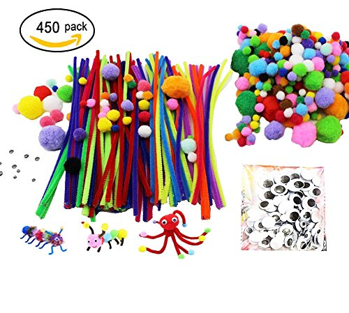 RenBa 450 Pcs Crafting Kit including 200 Pom Poms, 100 Pipe Cleaners, 150 Wiggle Eyes, for Children's Craft Projects, Paper Crafts, Holiday Crafts, Assorted Colors, Sizes