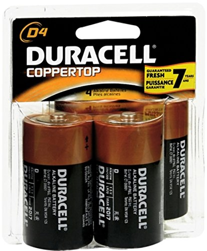 Duracell Coppertop D Alkaline Batteries 1.5 Volt 4 Each (Pack of 8)