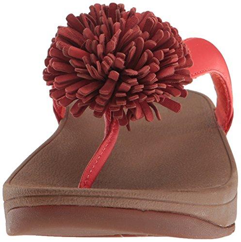 Fitflop Womens Flowerball Läder Tå-post Flip Flop Flamma