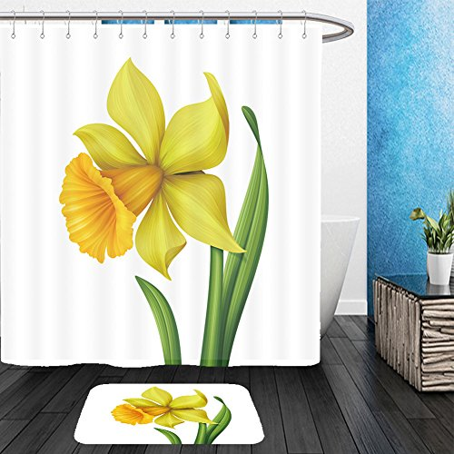Vanfan Bathroom 2 Suits 1 Shower Curtains &  1 Floor Mats yellow spring daffodil flower graphic illustration isolated on white background 184625708 From Bath (Childrens Daffodil Costumes)