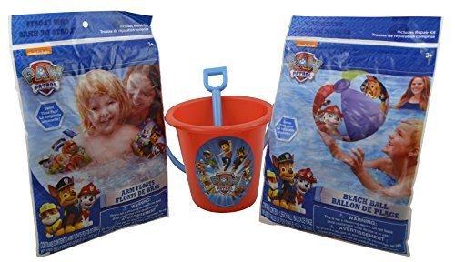 Nickelodeon Paw Patrol Ready for the Beach Bundle 3 Pcs Set Bucket with Shovel, Beach Ball, Arm Floats