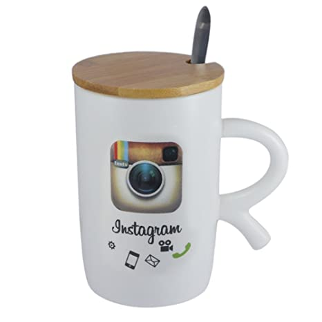96cc4cb6ab1 Buy Saamarth Impex White Ceramic Coffee Mug Instagram Printed with Wooden  Cap and Spoon SI-4402 Online at Low Prices in India - Amazon.in