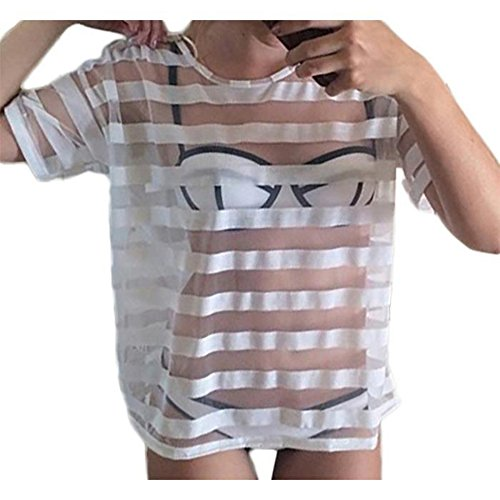 Cache-semi-transparenten gestreiftes Jersey-top