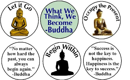 Set of 6 BUDDHA Magnets - Buddhism Yoga Meditate Quotes Life Inspirational