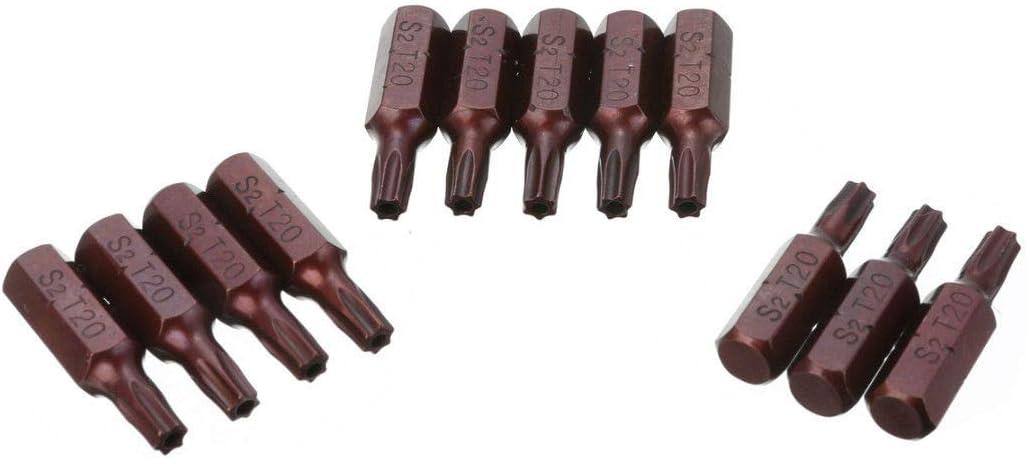 OPSLEA 12PCS T20 Magn/ética S2 Seguridad 1//4Hexagonal Torx Torx bits Destornillador