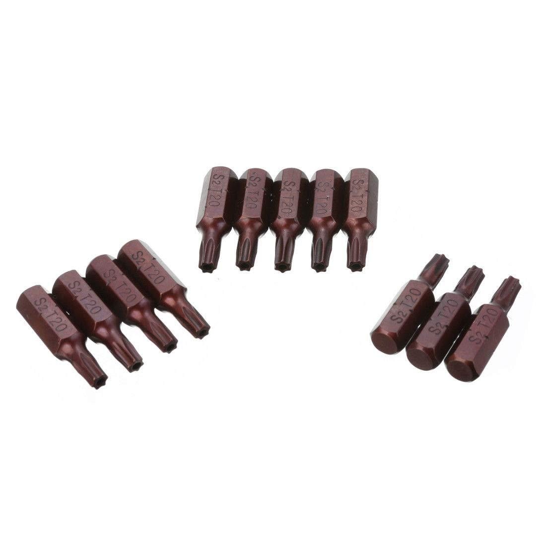 BONNIO 12 st/ücke T20 Magnetische S2 Sicherheit 1//4Sechskantschaft Torx Schraubendreher-Bits