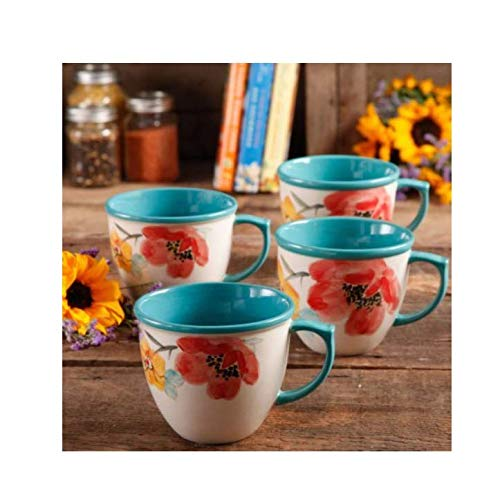 (The Pioneer Women Flea Market Decorated Coffee Cup, Floral Turquoise, Set of 4)