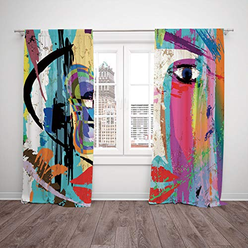 Thermal Insulated Blackout Window Curtain,Abstract,Woman Face Art Composition with Paint Strokes and Splashes Eye Red Lips Grungy Decorative,Multicolor,Living Room Bedroom Kitchen Cafe Window Drapes -