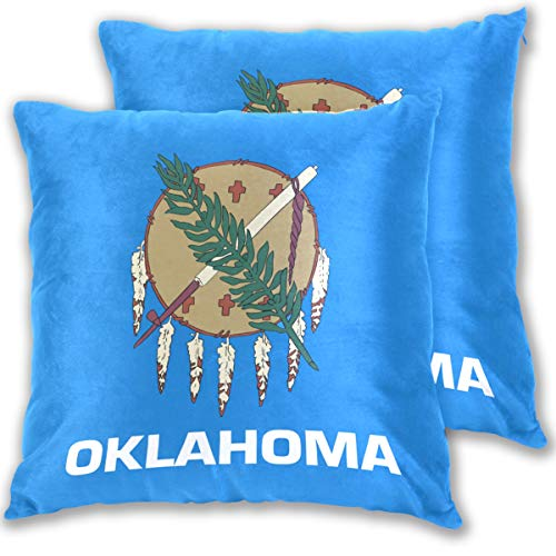 Oklahoma State Flag Cotton Throw Pillow Cover Set of 2,16 X 16 Inch Pillow case