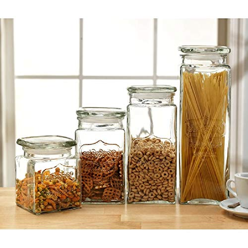 Glass Canister Set for The Kitchen - Set of 4 Food Storage Jars with Air Tight Lids for Kitchen or Bathroom, Food, Cookie, Cracker, Storage Containers, Clear Glass