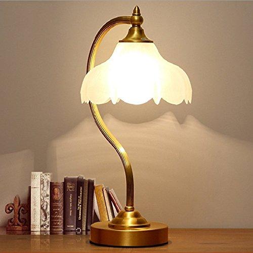 MIWENBlaume Tischlampe Kupfer American Kupfer Bett Schlafzimmer Wohnzimmer Tischlampe skandinavischen minimalistischen Hotelzimmer Schreibtischlampe