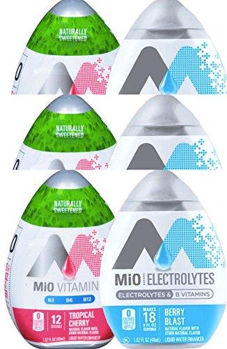 Mio Vitamins Tropical Cherry & Mio Electrolytes Berry Blast B Vitamins Liquid Water Enhancer 1.62 Fl Oz (6)