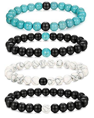 LOLIAS Couples Distance Bracelets for Men Women Natural Stone Boyfriend Girlfriend Gifts Jewelry Set