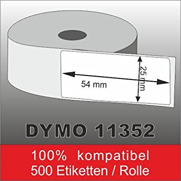 5x Etiketten Weiß für Dymo 11352 25mm x 54mm 500 Label pro Rolle