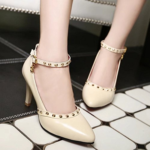 AIYOUMEI Damen Stilettos High Heels Knöchelriemchen Pumps mit Nieten Abendschuhe aprikose#1