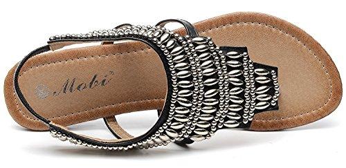 D2c Beauté Femmes Bohème Été Métalli Perlé Sandales Plates De Thong Noir
